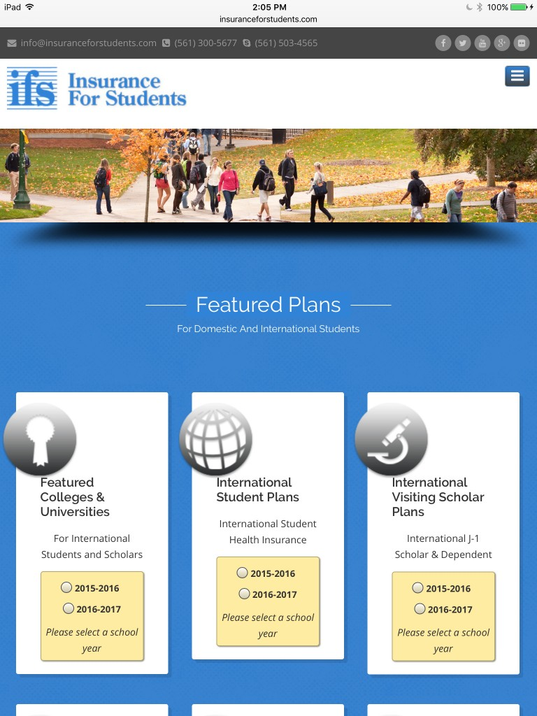 Insurance For Students - Tablet Browser View