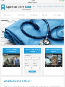 Special Care Unit Home Page - Tablet Browser View