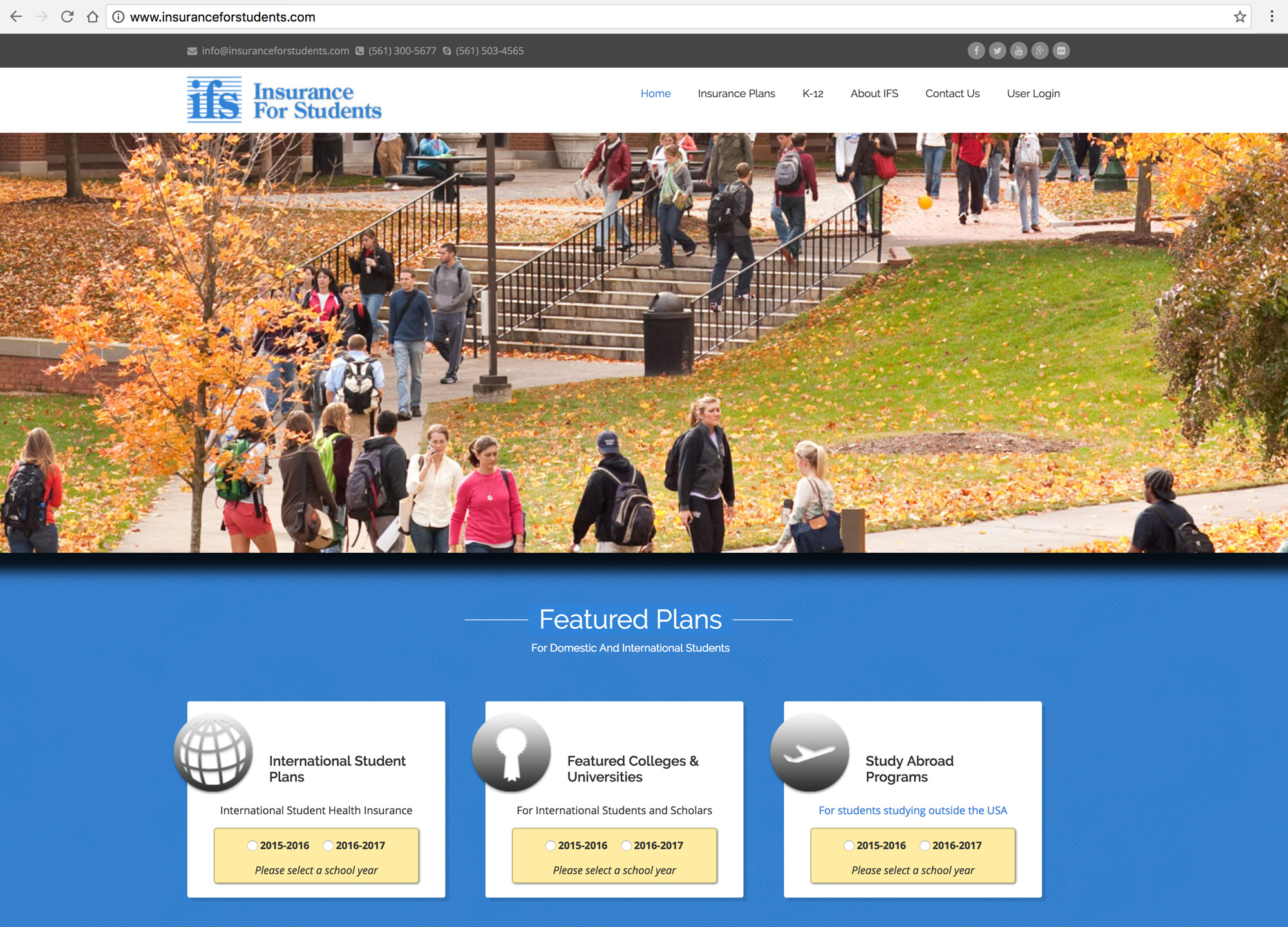 Insurance For Students Home Page - Desktop Browser View