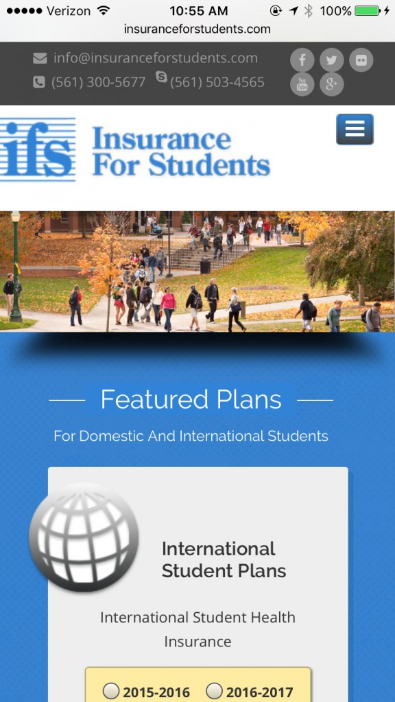 Insurance For Students - Mobile Browser View