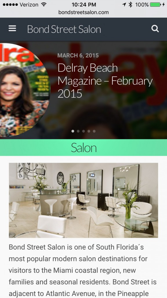 Bond Street Salon Home Page - Smartphone Browser View