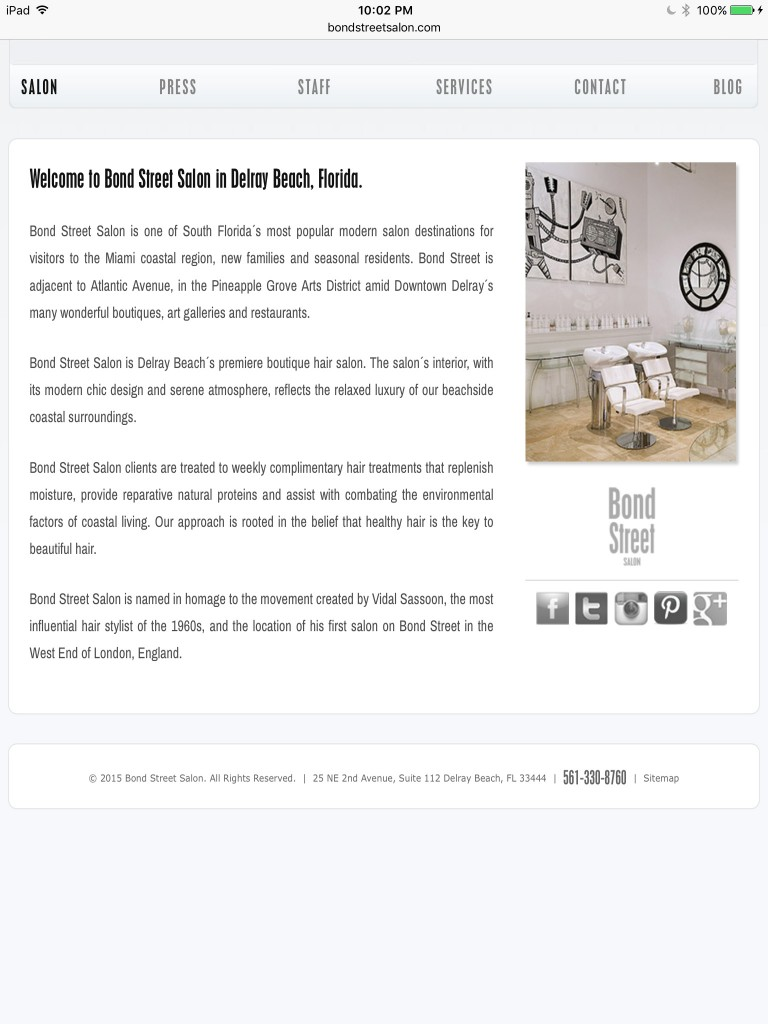 Bond Street Salon Home Page - Tablet Browser View