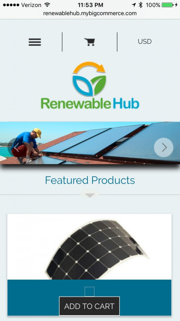 Renewable Hub Home Page - Smartphone Browser View