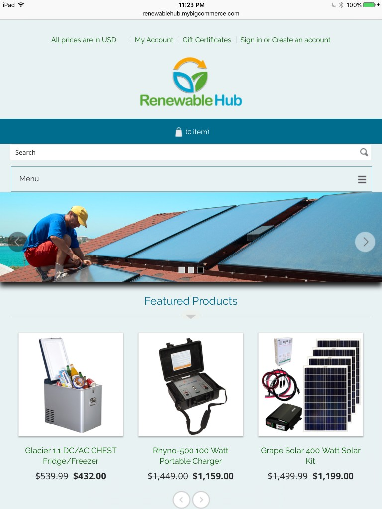Renewable Hub Home Page - Tablet Browser View