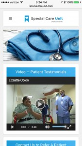 Special Care Unit Home Page - Smartphone Browser View