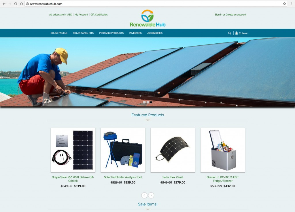 Renewable Hub Home Page - Desktop Browser View