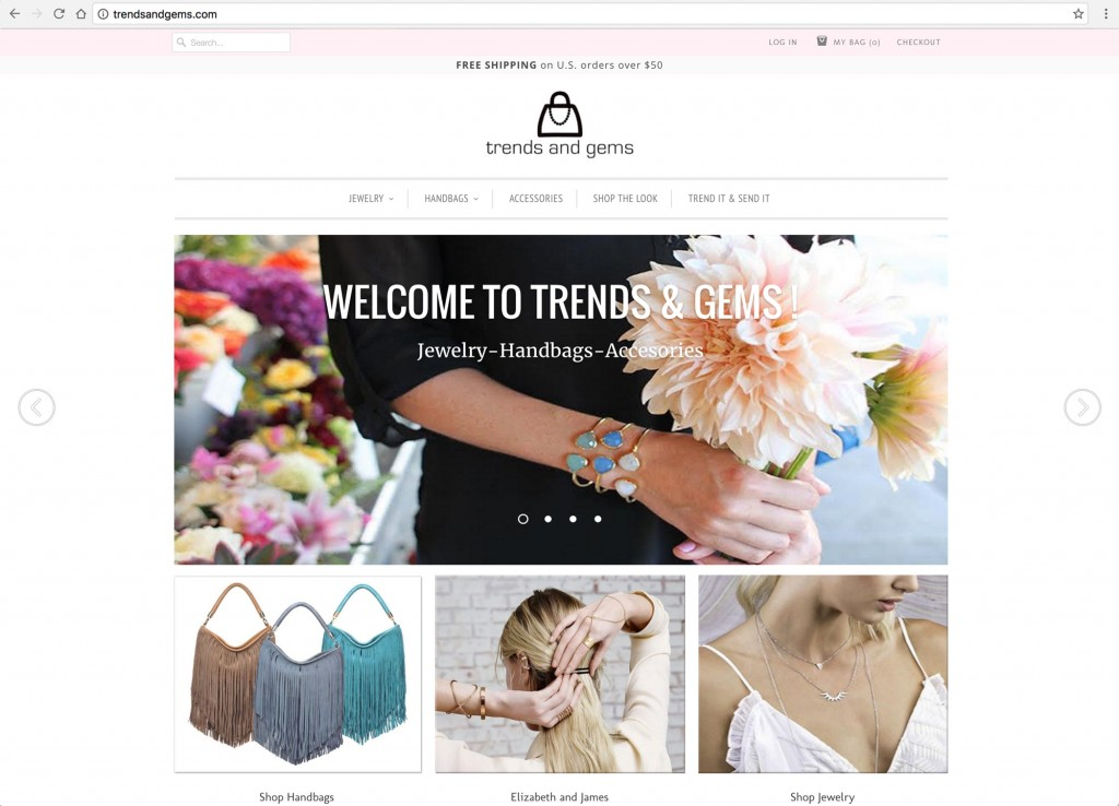 Trends And Gems Home Page - Desktop Browser View