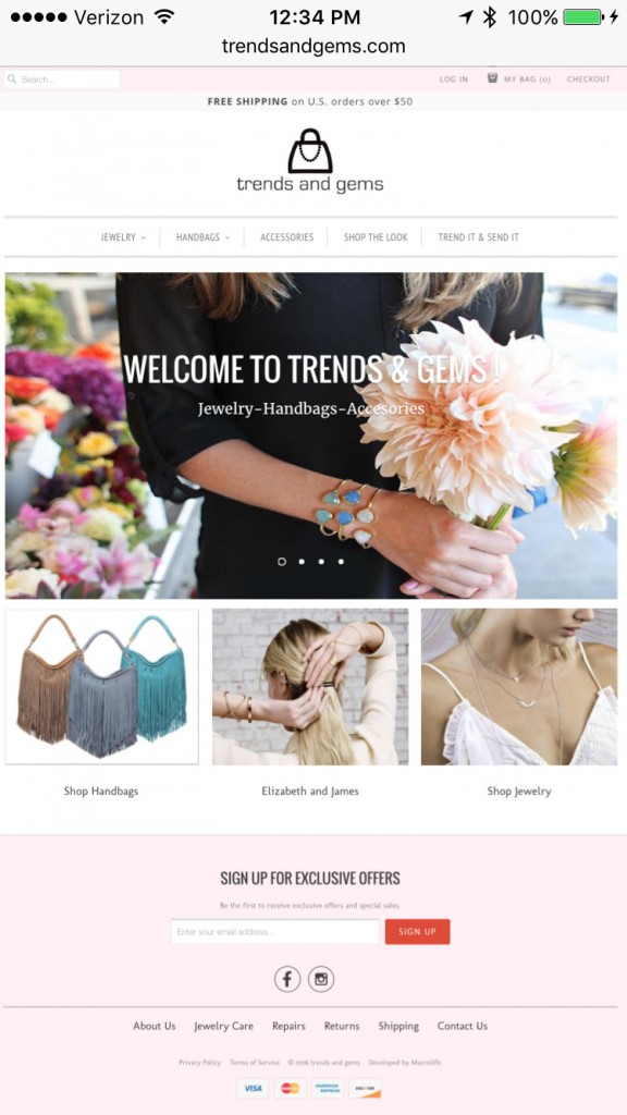 Trends And Gems Home Page - Smartphone Browser View