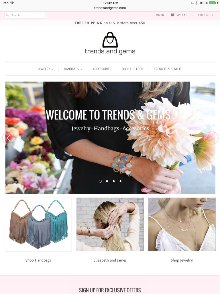 Trends And Gems Home Page - Tablet Browser View